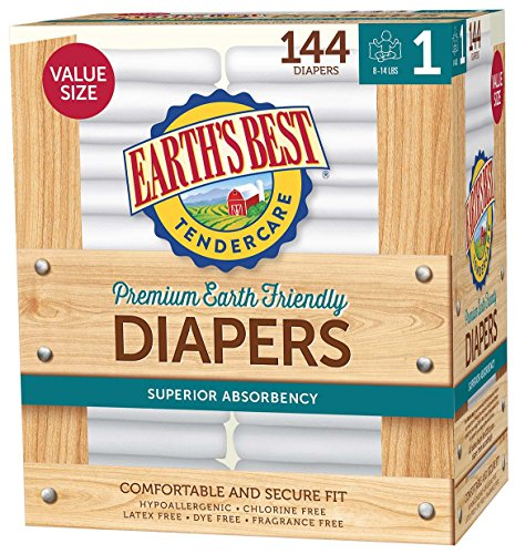 Earth's Best TenderCare Chlorine-Free Disposable Baby Diapers, Size 6 (35+ lbs), 72 Count