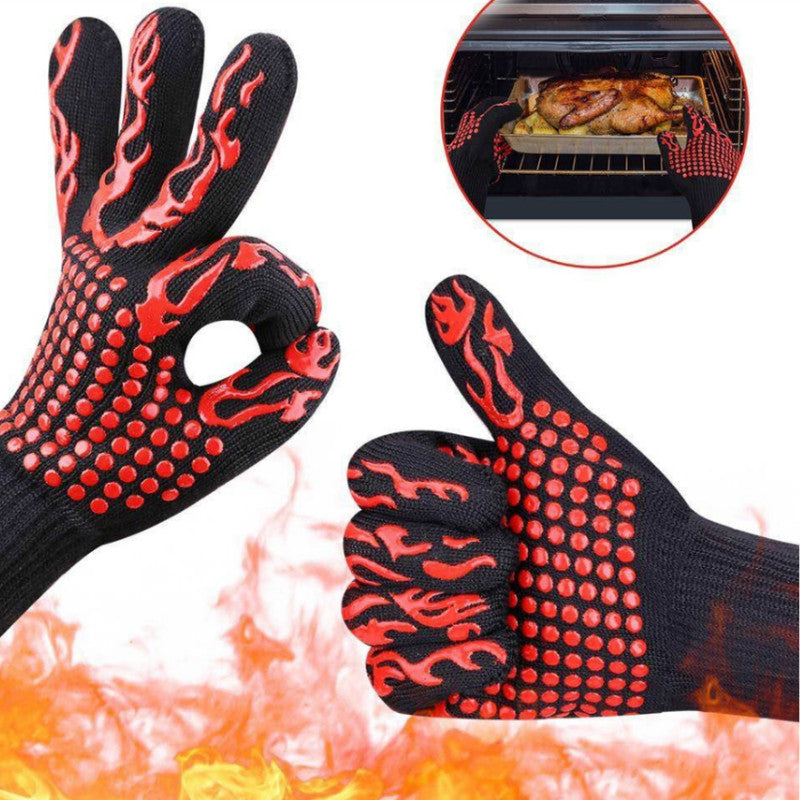 1 Piece BBQ Gloves/High-Temperature Resistance Oven Mitts