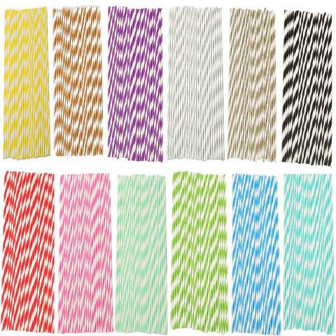 25Pcs Disposable Paper Straws