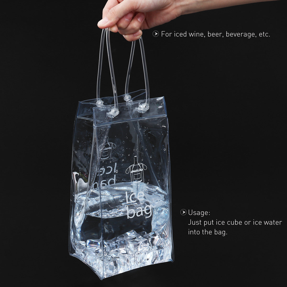 BESTOMZ Durable Clear Transparent PVC Champagne Wine Ice Bag Pouch Cooler Bag with Handle