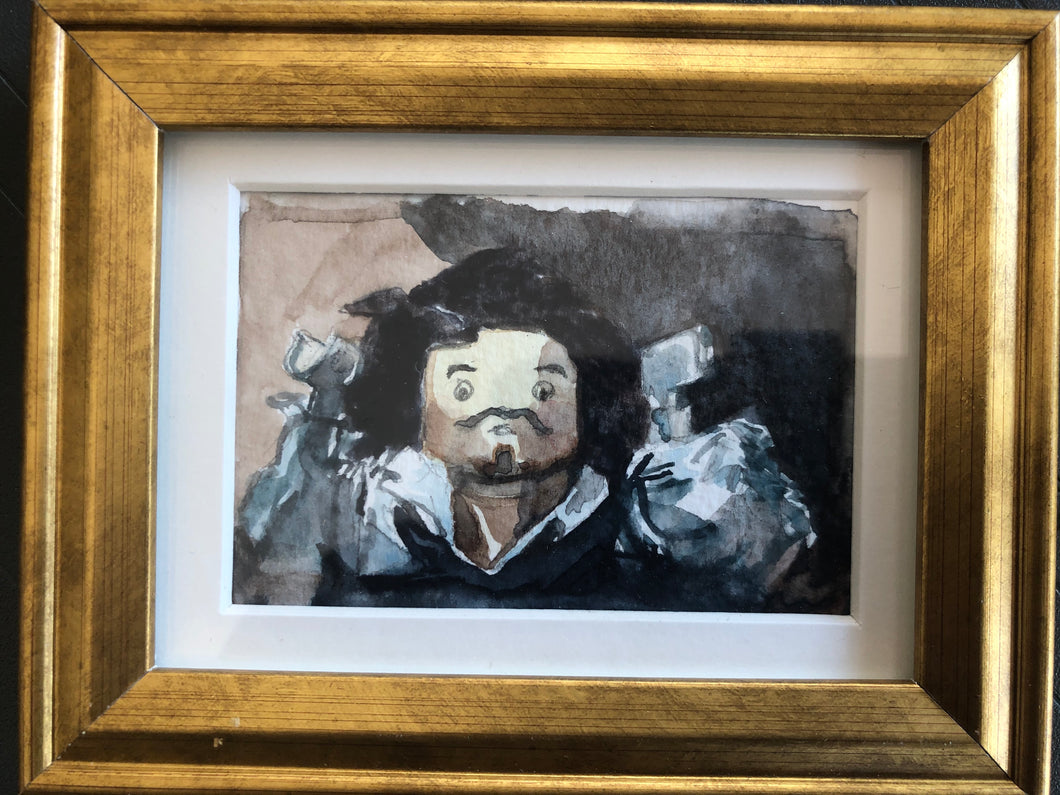 Gustav Courbet's The Desperate Man, reinterpreted with lego mini-figure in watercolor