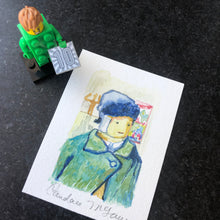 Load image into Gallery viewer, lego mini-fig portrait as Vincent Van gogh