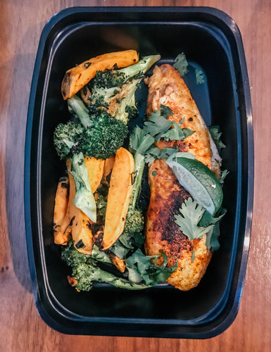 Chili Lime Tilapia With Roasted Sweet Potatoes & Broccoli - Gourmet Method
