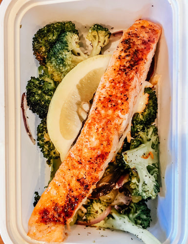 Baked Lemon Garlic Salmon With Roasted Broccoli - Gourmet Method
