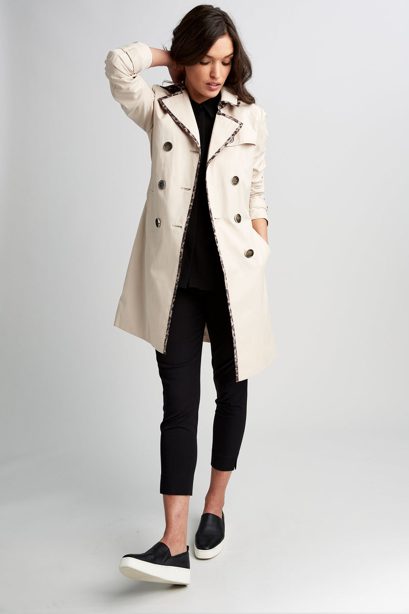 Tahari Maggie Trench Coat With Leopard Trim