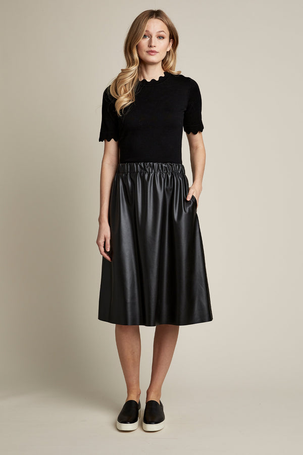 Vegan Leather Pull On Skirt