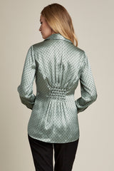 Silk Deco-Dot Smocked Back Shirt