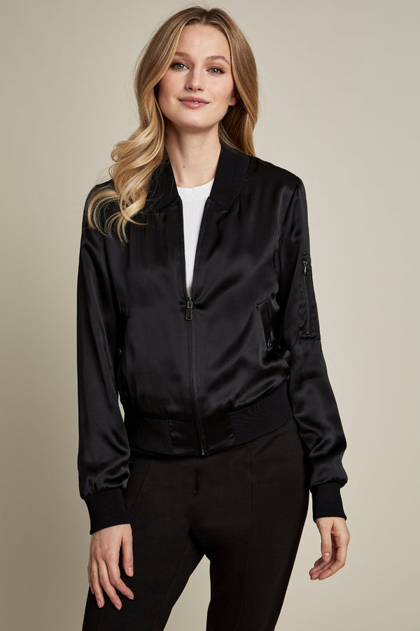 Brandy Silk Bomber Jacket