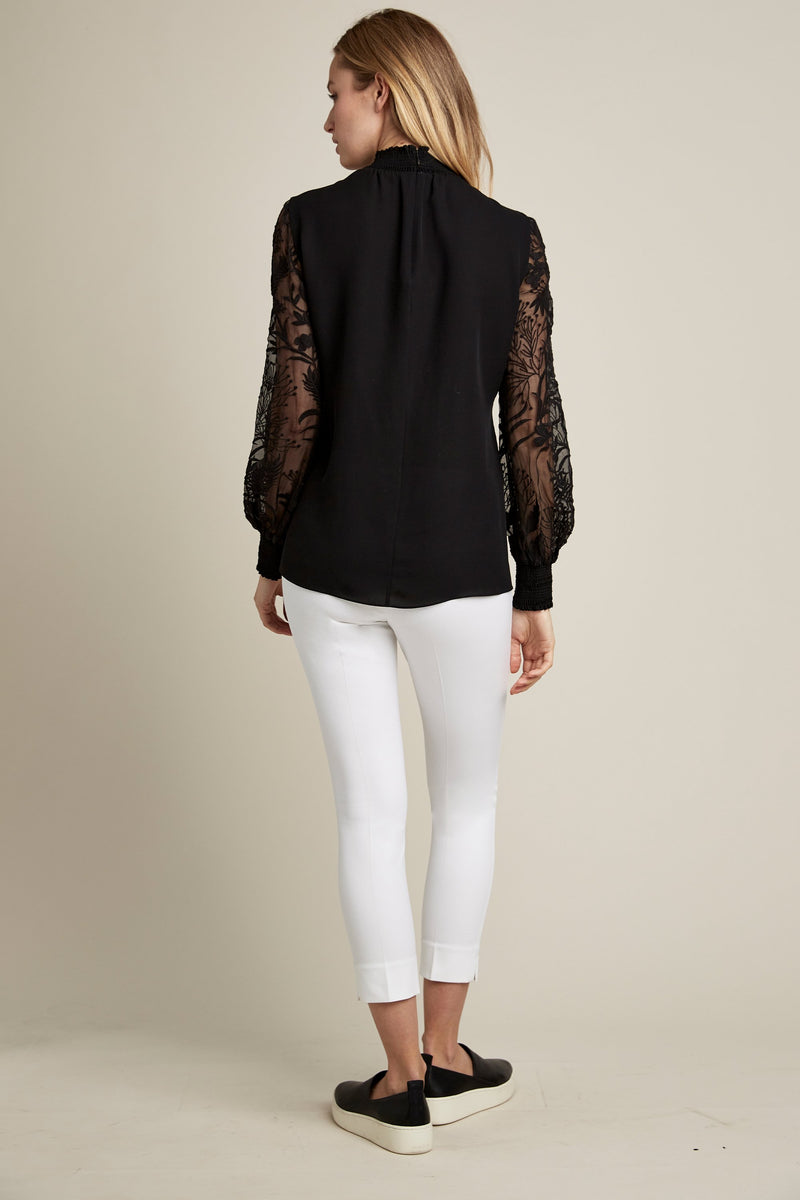 Lace Floral Sleeve Shirt