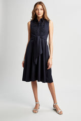 Poplin Sleeveless Tie Dress