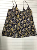 Women's Black/ Yellow Floral Tank Top size m (12) 1D