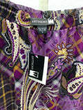 NWT Antthony Originals Long Skirt Purple Gold Paisley Size S 2A