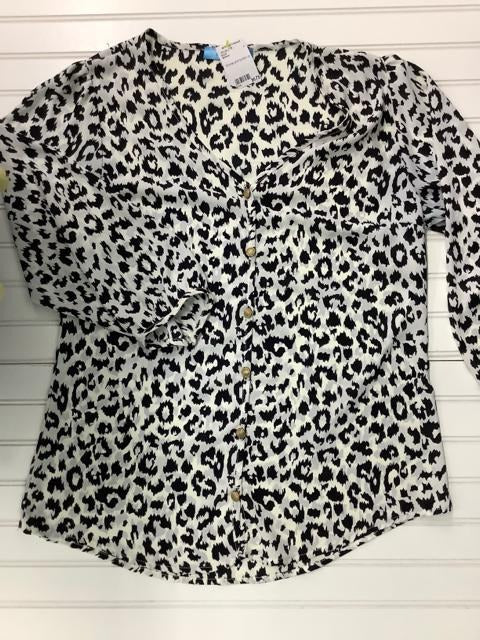 Women's Buttons Animal Print Blouse Size L 1B