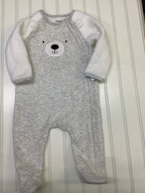 Absorba one piece outfit sleeper bear grey and white size 9 month 2C