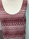 Women's LUSH Red and Cream Tank Top Size L 2A