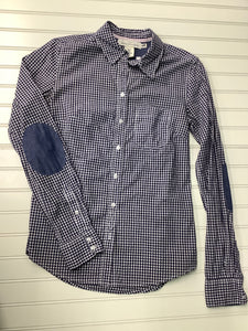 Women's H&M LOGG Button Up Shirt Blue and White Size 2 1D