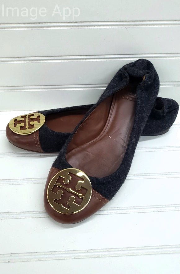 Tory Burch Parker Flannel and Leather Flats Size 9.5 1F
