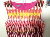 Women's Roz and ali sleeveless Size14 Dress pink/yellow/multicolor w/ pockets 1E