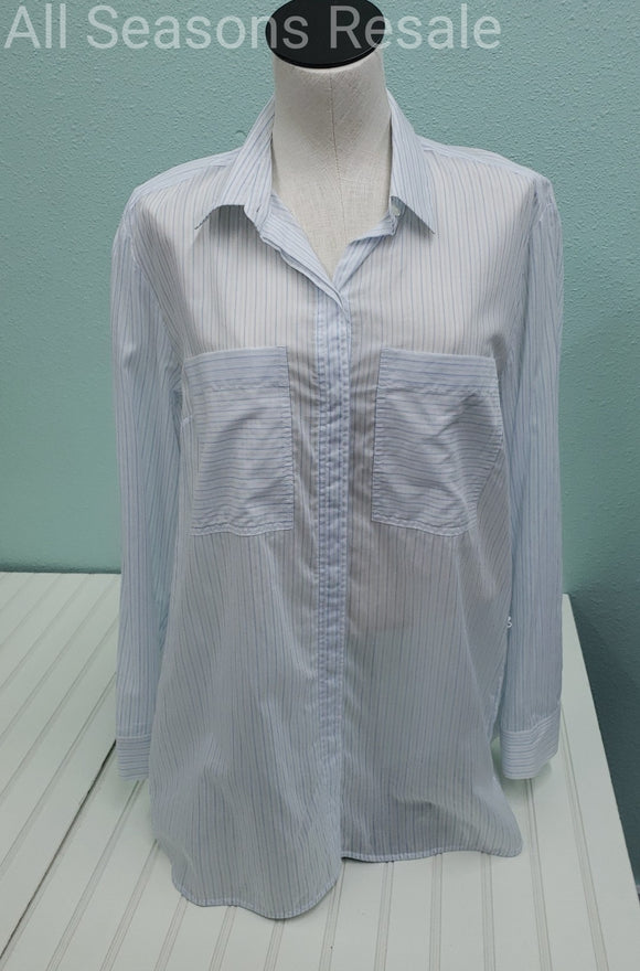 NWT Michael Kors Heritage Blue Size M Button Up Blouse Tunic Shirt 2D