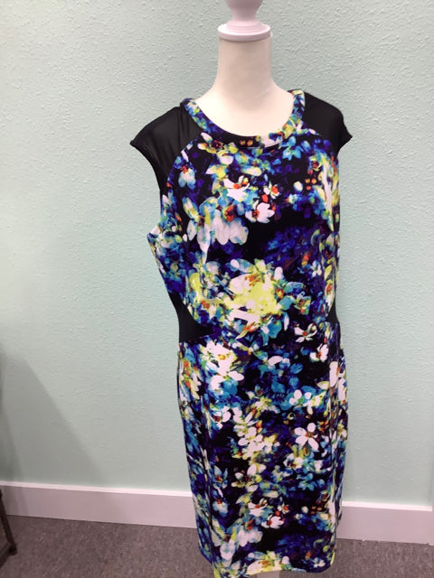 Worthington Size 14 Sleeveless Dress Floral Abstract Zipper Closure 3B