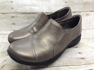 Clarks In Motion Bronze Leather Walking Loafer Shoes 67784 Women's 9.5 W 1A