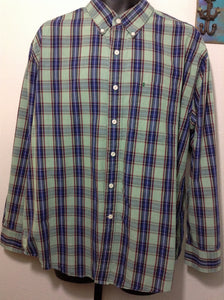 Izod Size XL Tall Green Plaid Shirt Long Sleeve 1A
