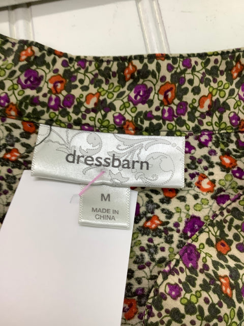 Dressbarn 3/4 Sleeve Floral Blouse Button Up Size M 2C