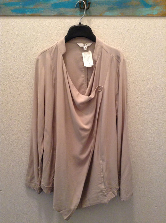 JACK womens blouse button casual Size medium Tan Jacket 1B