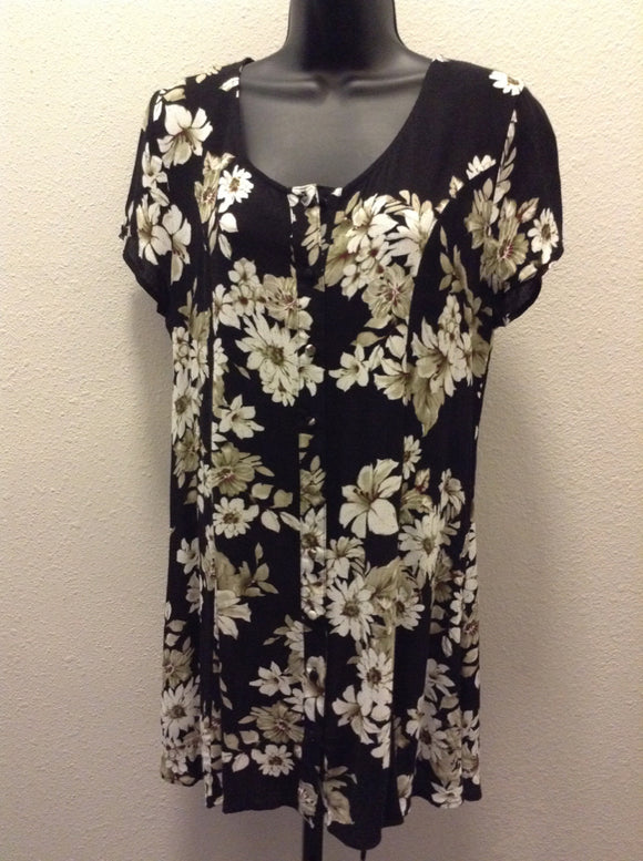 Sweet Wanderer Large flower black Tunic Button up Top 1D