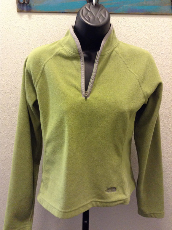 The North Face Women's Quarter Zip Pullover Green Fleece jacket lightweight 1D