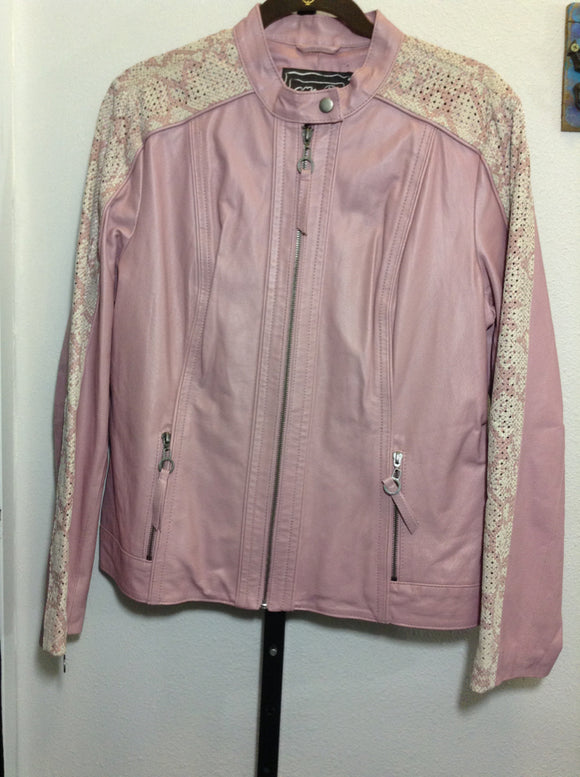 CHI by FALCHI Women's Large 100% Leather bomber Jacket PINK Snakeskin print ~11C