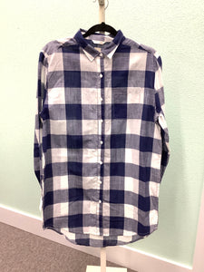 Women's Blue Plaid Jag Tunic Top Size M