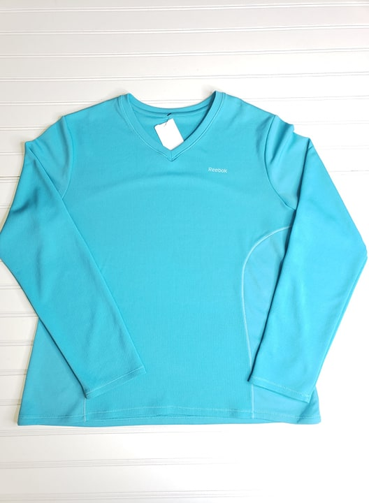 Womens Reebok Blue Long Sleeve Athletic Shirt Size M