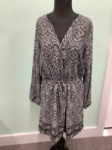 NWT Womens Gap Dress Size L Black/Grey Tie Waist  Button Up 1F