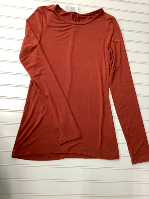 Womens Halogen Long Sleeve shirt red/rust color Size S 1C