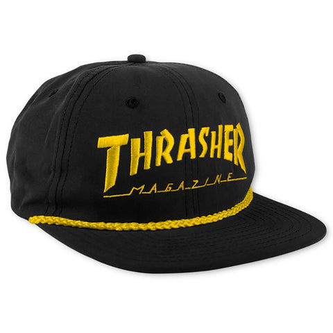HAT THRASHER MAG LOGO CORD SNAP BLK