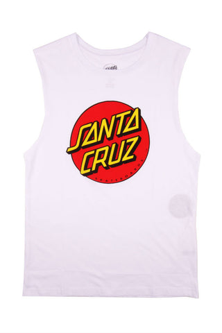 MUSCLE TEE SANTA CRUZ BIG DOT WHITE