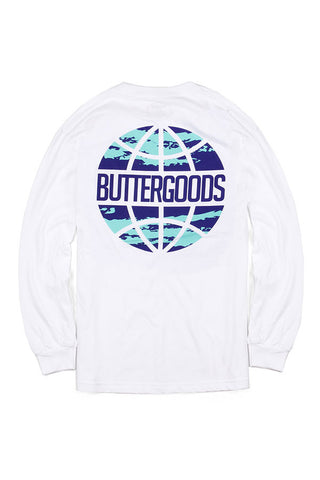 TSHIRT BUTTER GOODS LS EXPRESS WORLDWIDE WHT