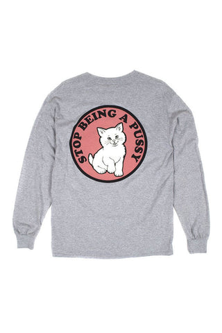 TSHIRT RIPNDIP L/S STOP BEING A PUSSY GREY BACK