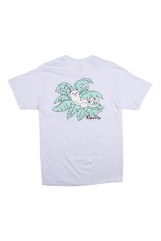 TSHIRT RIPNDIP NERMAL LEAF POCKET WHITE BACK