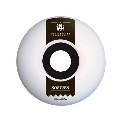 SKATEBOARD WHEELS FOUR SOFTIES 85A WHITE 56mm
