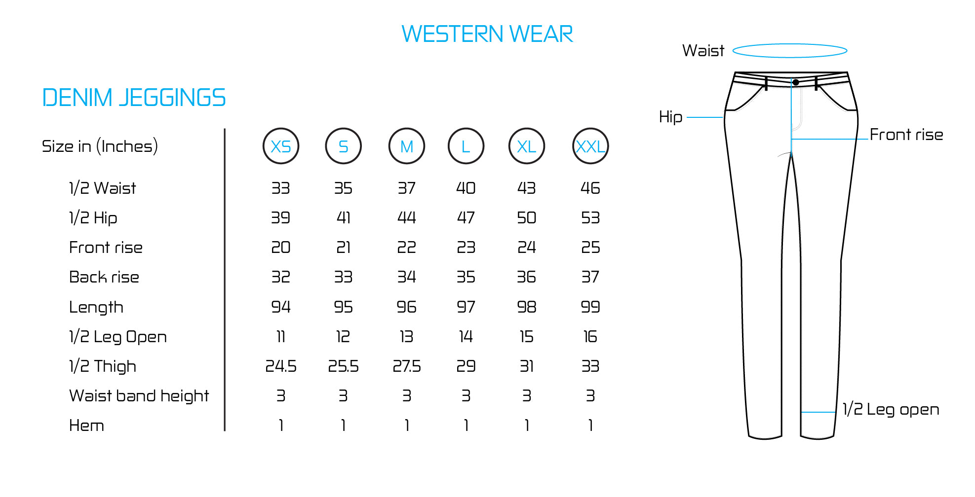 eSTYLe Jeggings Size Chart