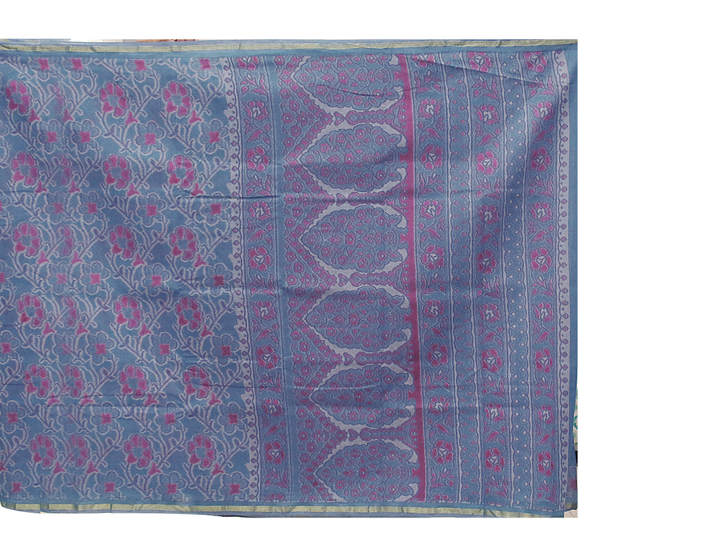 Blue 'N' Pink Bahar Saree With Golden Zari Border