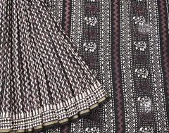 Black Bahar Saree Chevron Printed With Golden Zari Border