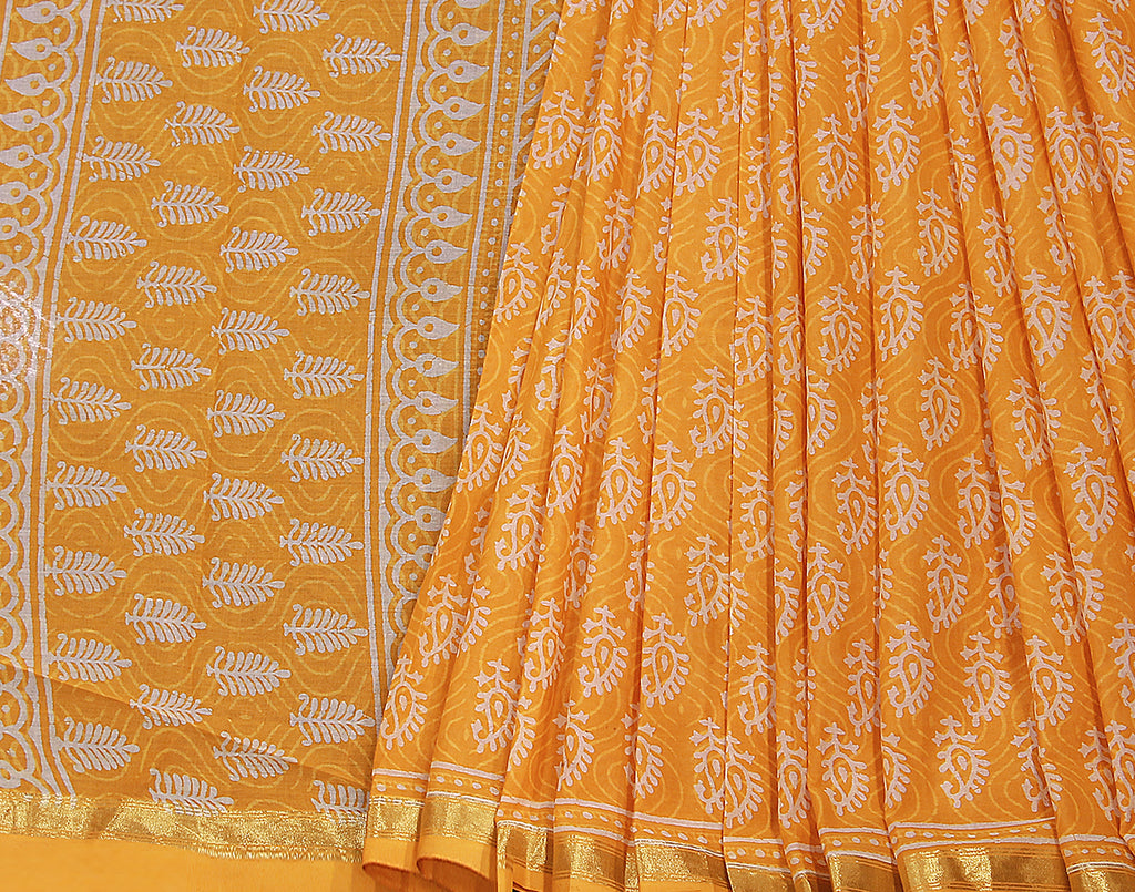 Yellow Chanderi Cotton Saree With Zari Border
