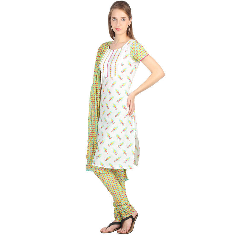 Aqua Shade 3Pce Set With Pintuck Yoke With Chudi And Dupatta
