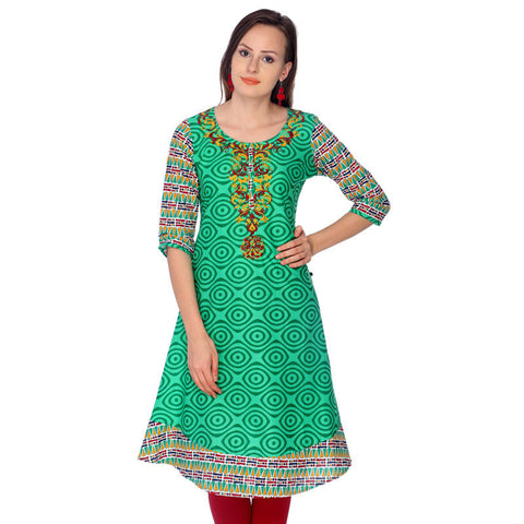Greenage Printed Cotton Anarkali With Printed Sleeve