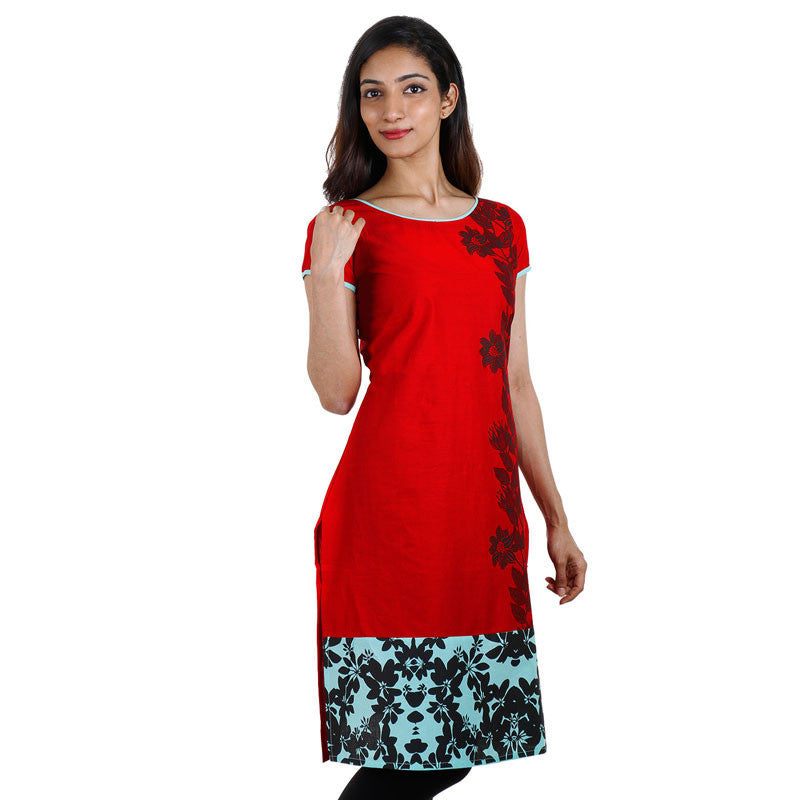 eSTYLe Casual Bright Red Cotton Kurta With Floral Prints