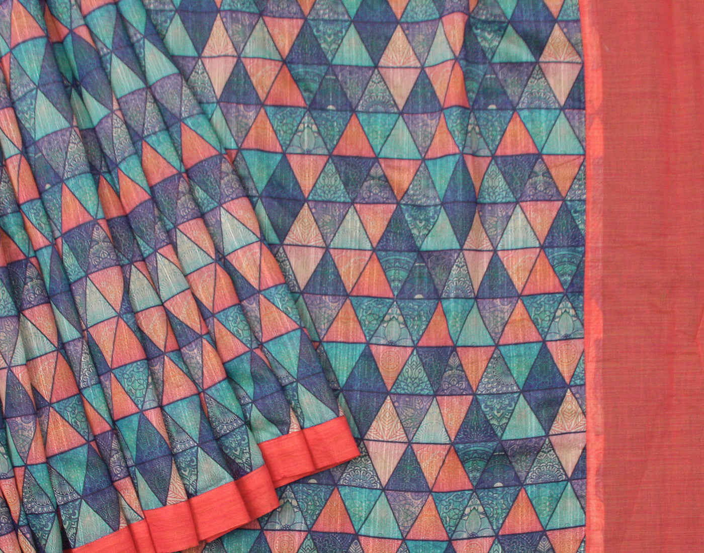 Pink 'N Blue Handloom Rawsilk Saree