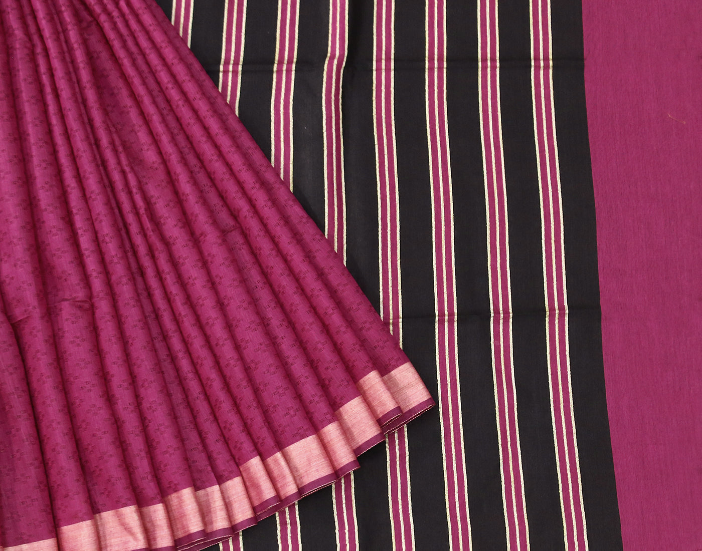 Purple Kota Jacquard Saree With Fringes